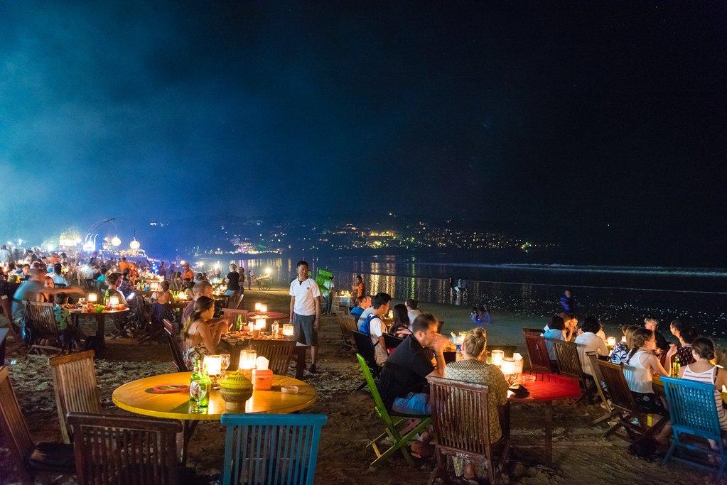 Restaurants on a beach in Jimbaran