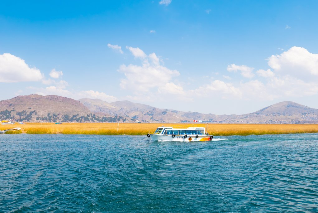 The bright blue water of Lake Titicaca