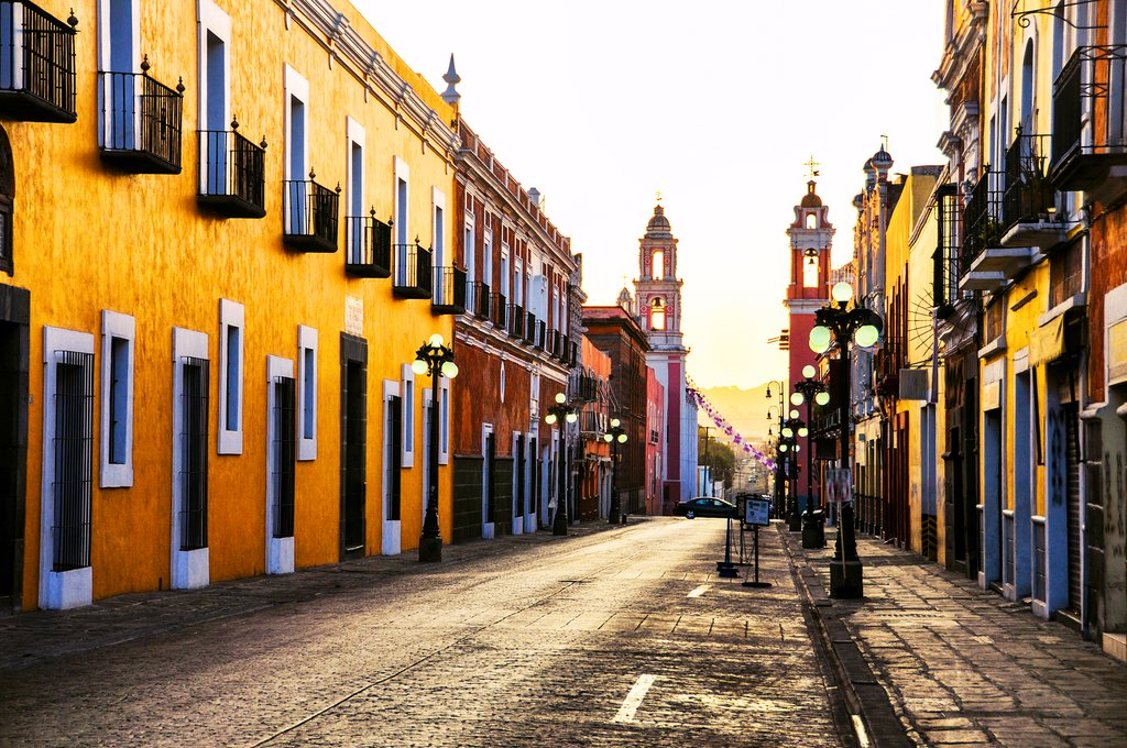 Morning light on the streets in Puebla, Mexico
