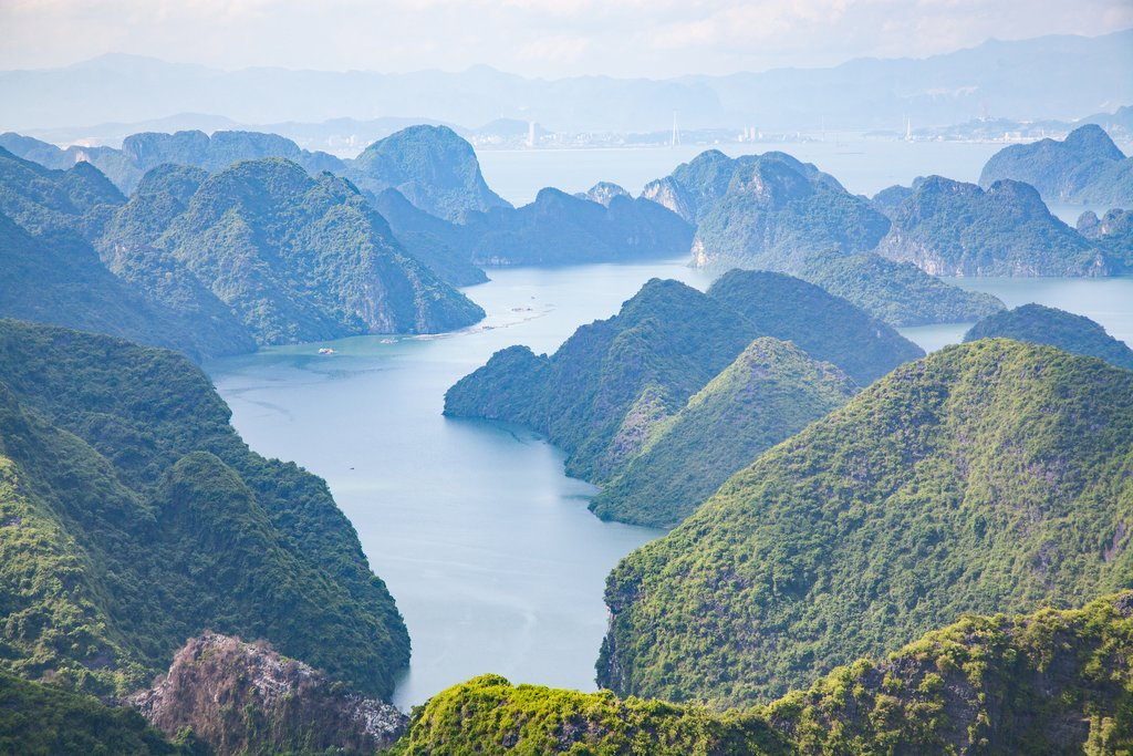View of Ha Long bay from Cat Ba island