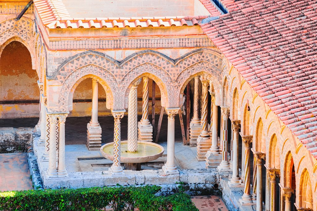 Italy - Sicily - Monreale - Garden and cloisters of the Monreale Cathedral