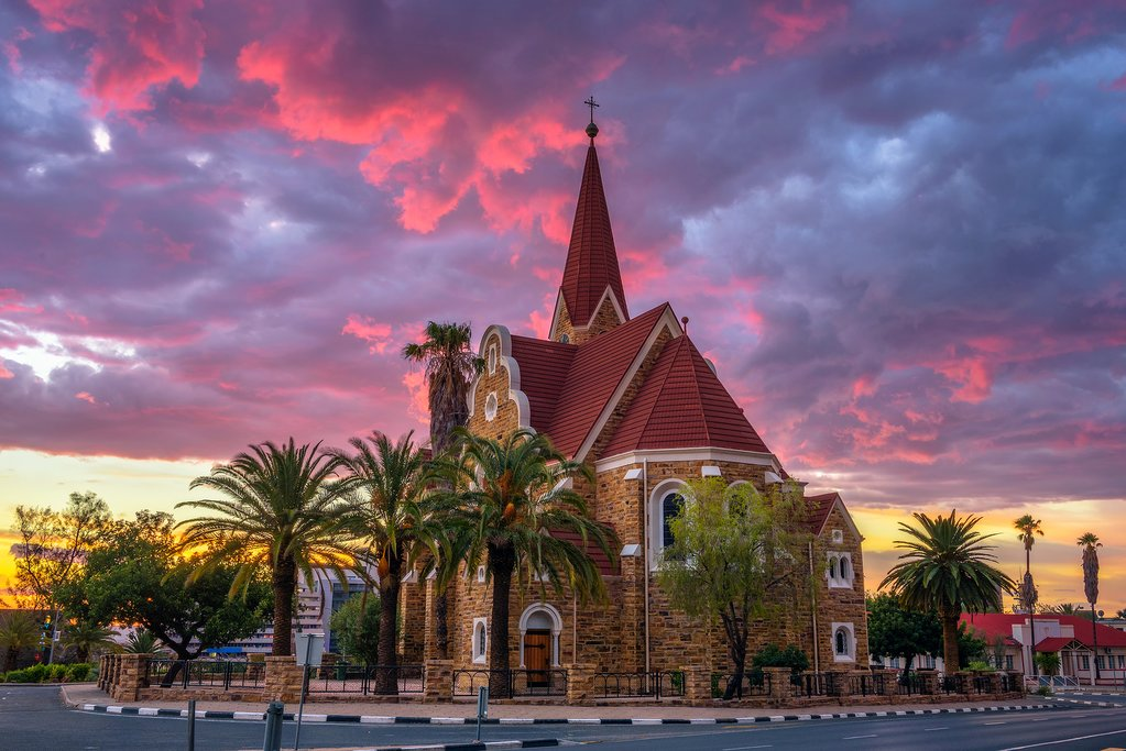 Dramatic sunset above Christchurch in Windhoek