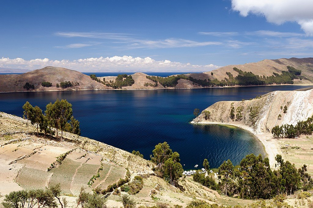 Terraced banks of Lake Titicaca