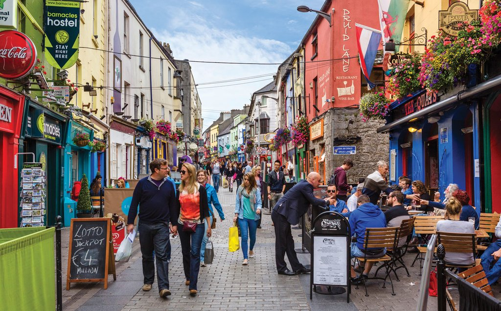 The cobbled streets & colorful cafes of downtown Galway.