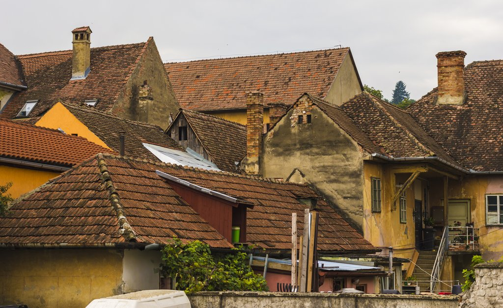 Traditionally tiled roofs in Sighisoara