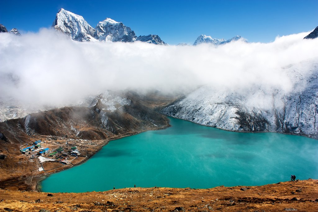The small village of Gokyo along Dudh Pokhari Lake