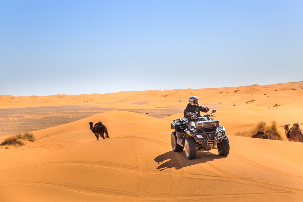 ATV in Erg Chebbi, the Sahara, near Merzouga, Morocco