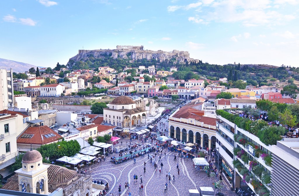 Monastiraki Square and the Acropolis.