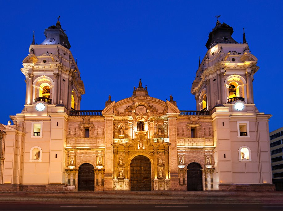 Lima's beautiful cathedral on Plaza Mayor
