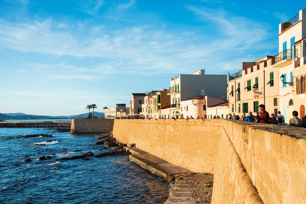 Walking the seawall in Alghero