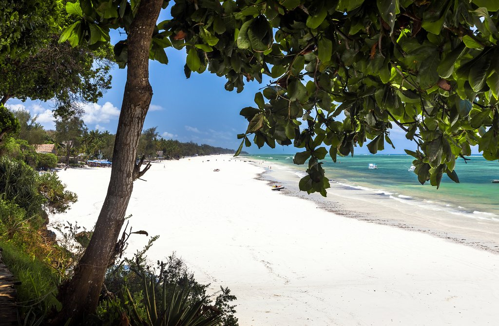 The blindingly white sand beach of Diani