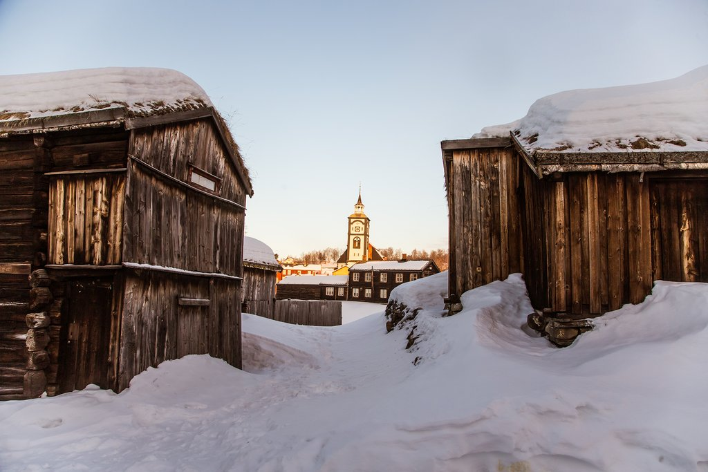 Scenic Røros in the snow