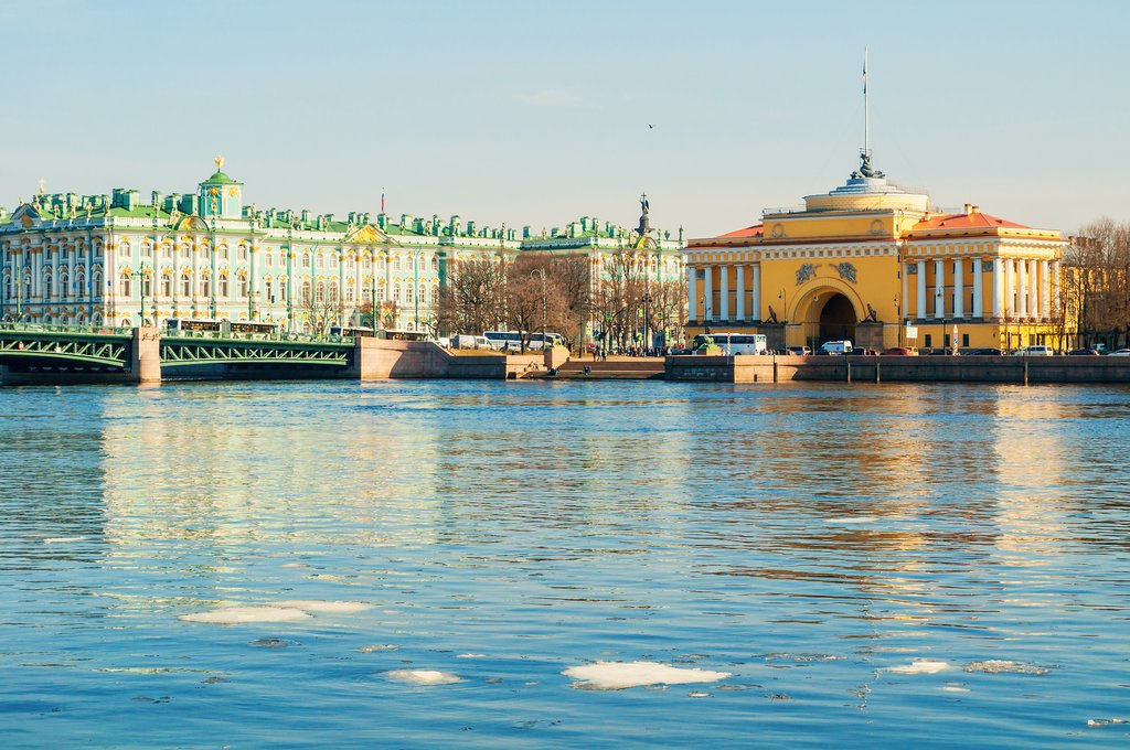 View of the Winter Palace and Admiralty Arch from the Neva River