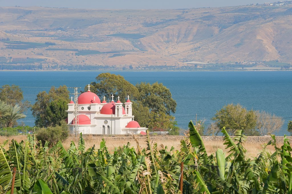 Greek orthodox church Capernaum, Sea of Galillee and the Golan Heights