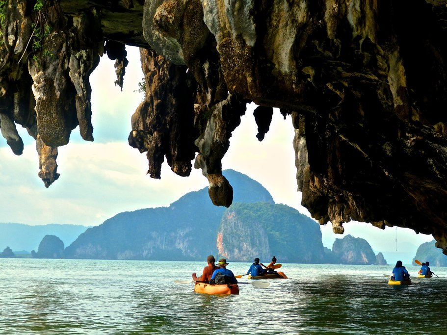 Kayaking adventure through sea caves