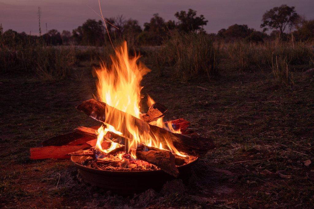 Campfire in Okavango Delta