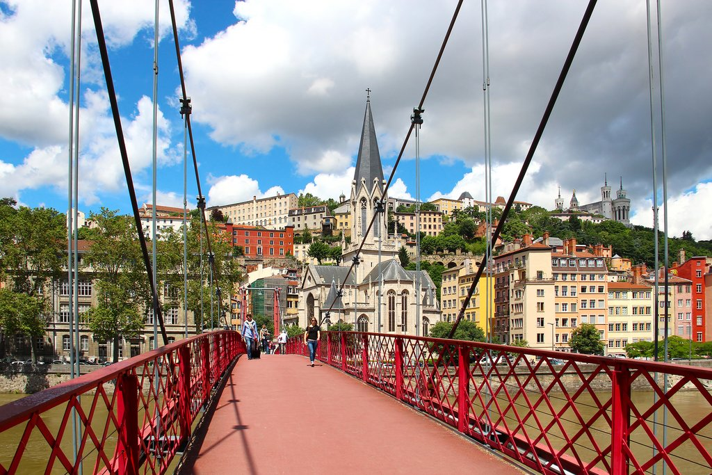 Footbridge over the Saone River in Lyon