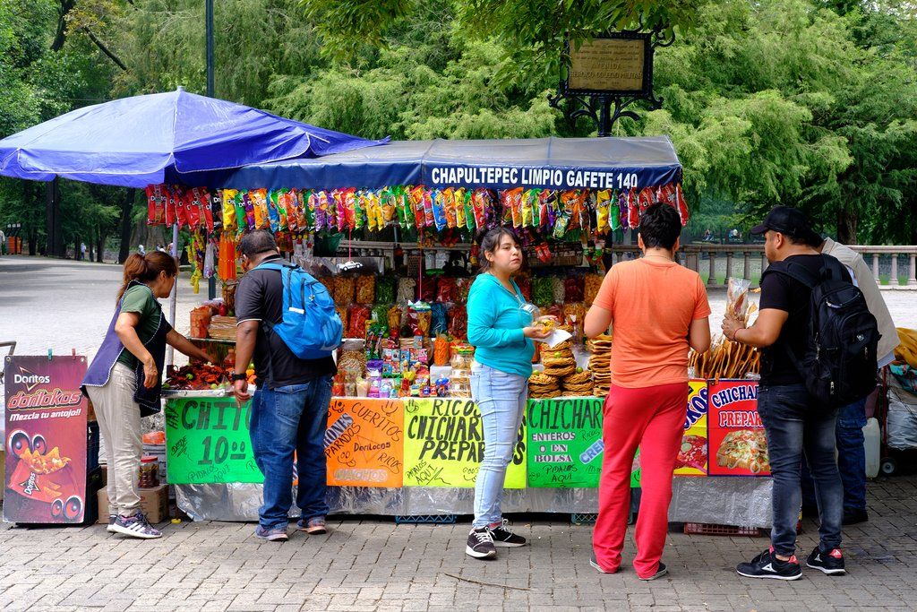 Stopping for street food in Mexico City