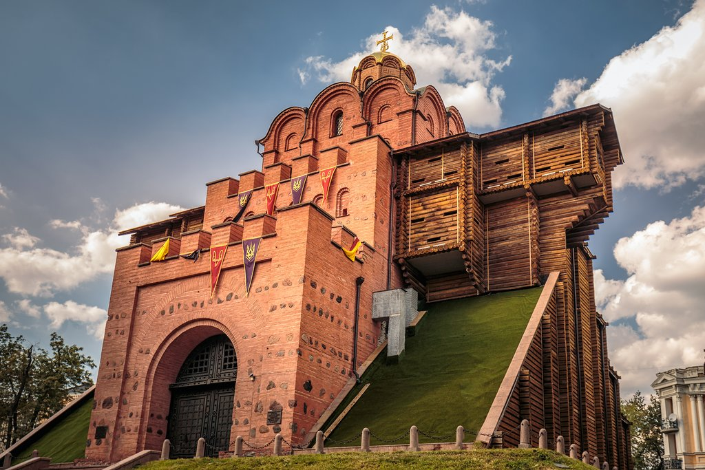 Famous Golden Gates in Kiev - one the most visited touristic places of the city, Ukraine