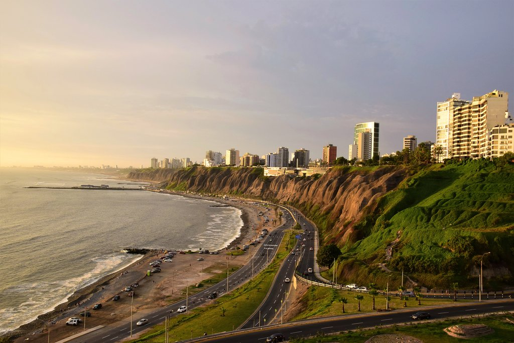The romantic neighborhood of Miraflores at sunset