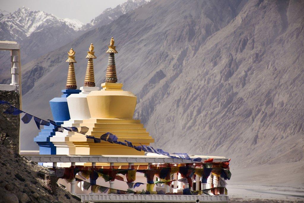 Three colorful stupa, part of Diskit Monastery