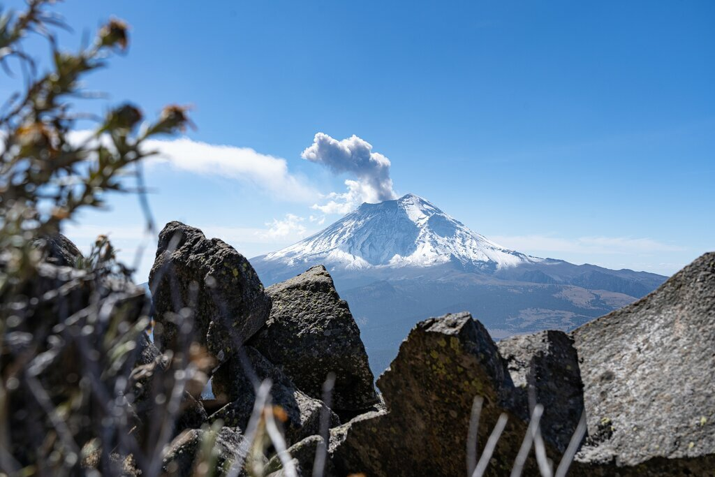 Smoke roiling from Popocatepetl