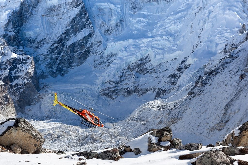 Helicopter near Everest Base Camp