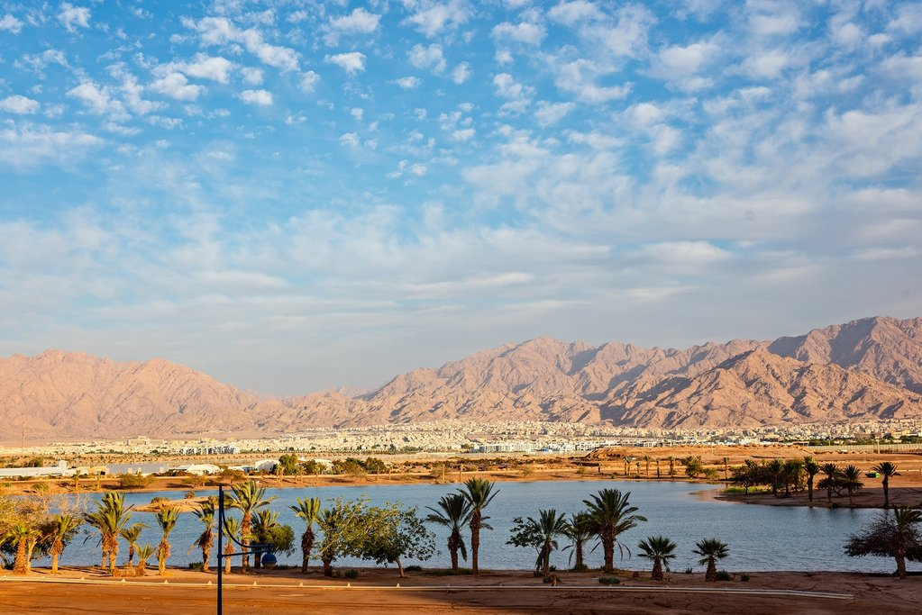 Jordan - Aqaba - View of the Gulf of Aqaba and Aqaba from Eilat in Israel
