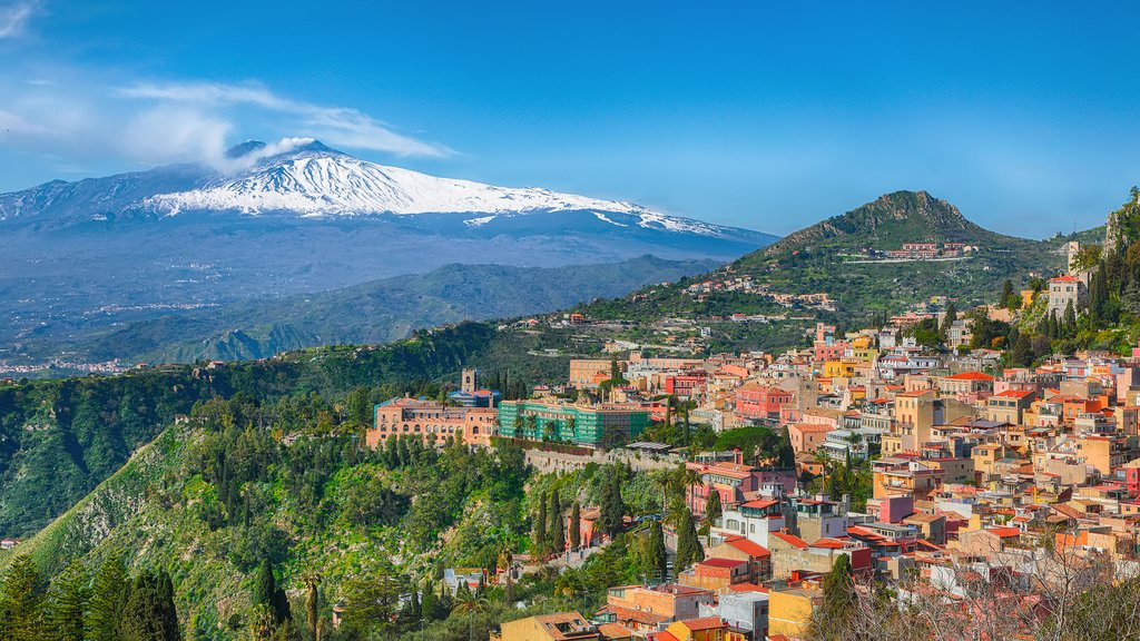 aormina and smoking Mount Etna in the background