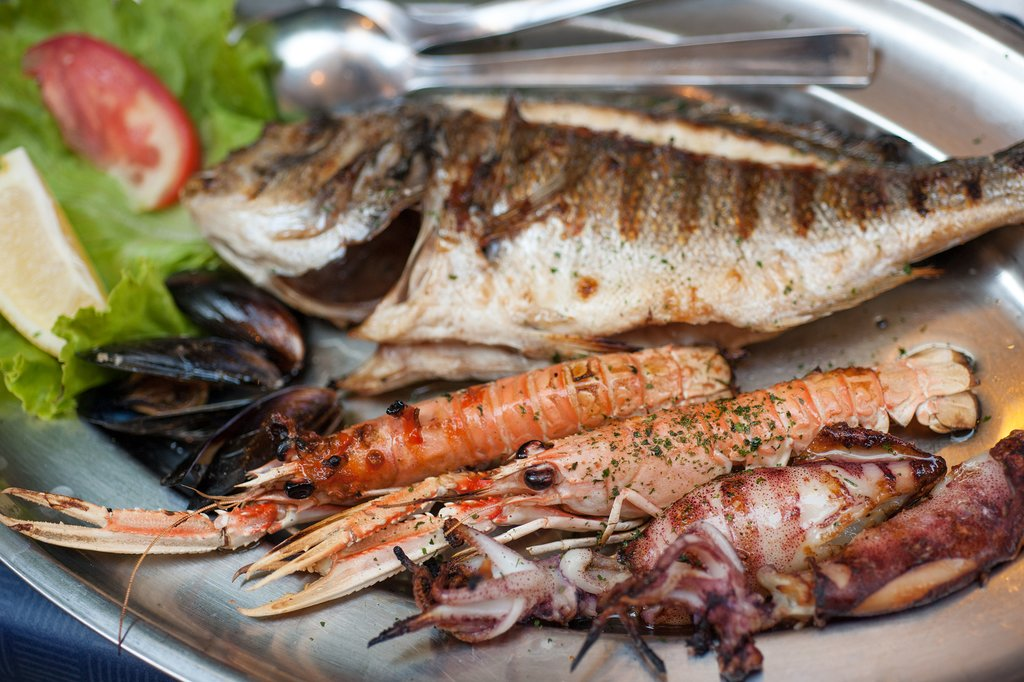 Freshly caught seafood on the grill, Dubrovnik