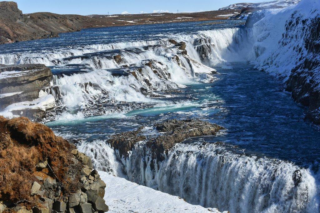 Frozen falls at Gullfoss
