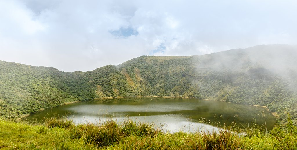 Lake inside the Bisoke Volcano crater