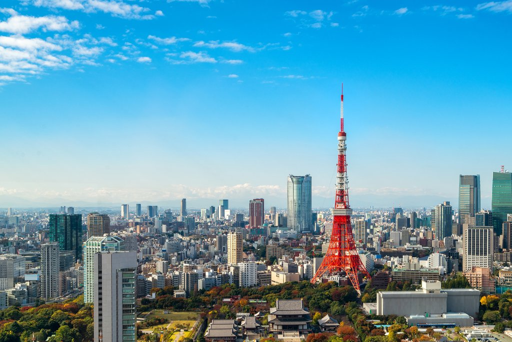 Tokyo's skyline, with the red Tokyo Tower in the forefront.