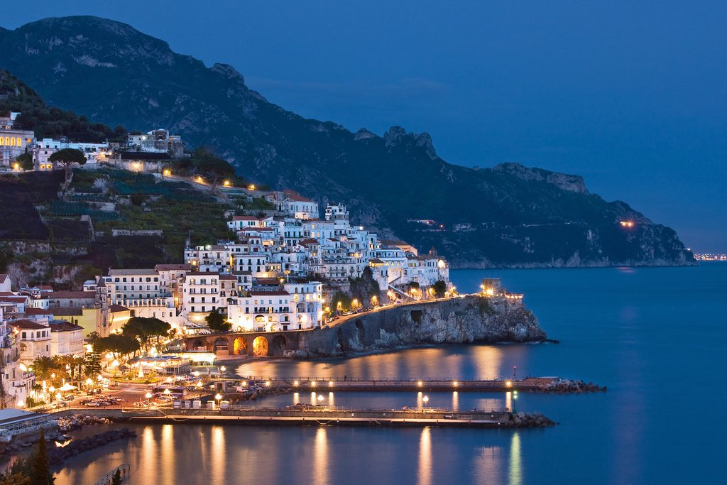 A picturesque view of Amalfi at night