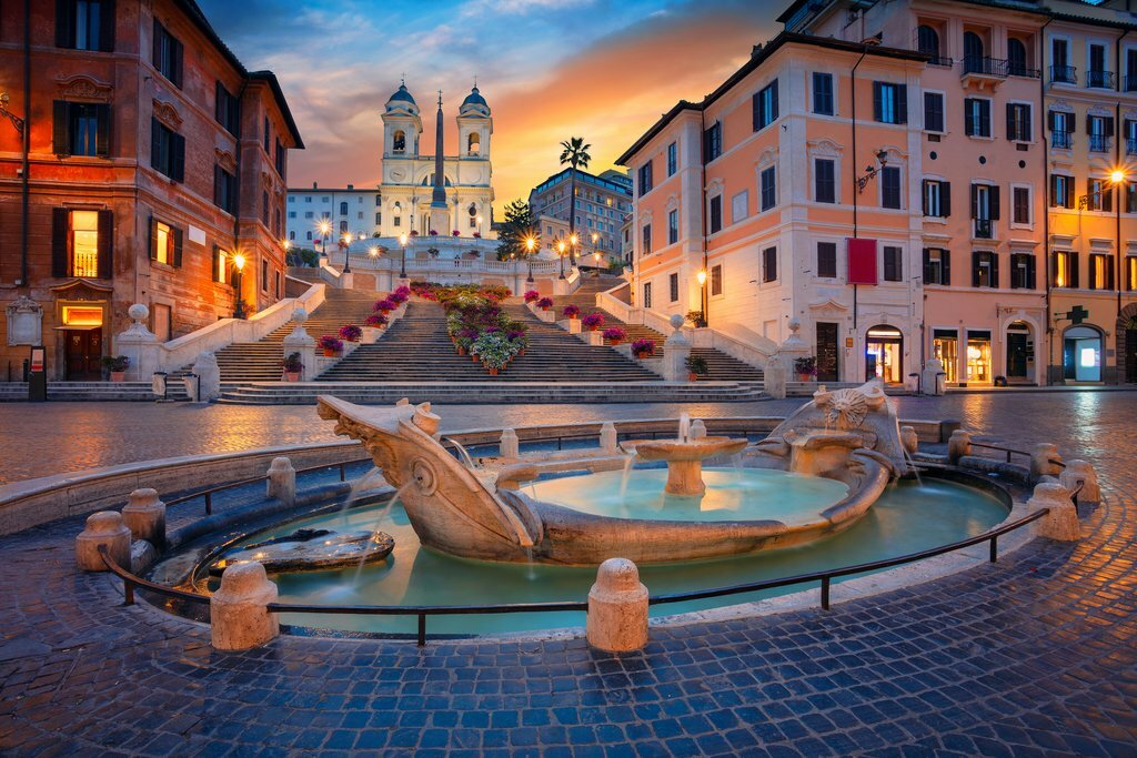 Rome's Spanish Steps at sunrise
