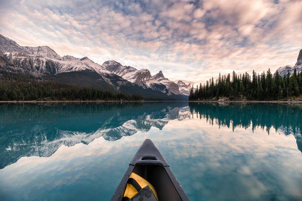 Canoeing on Maligne Lake near Jasper