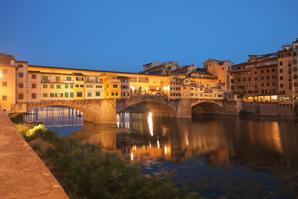 Ponte Vecchio across Arno at night