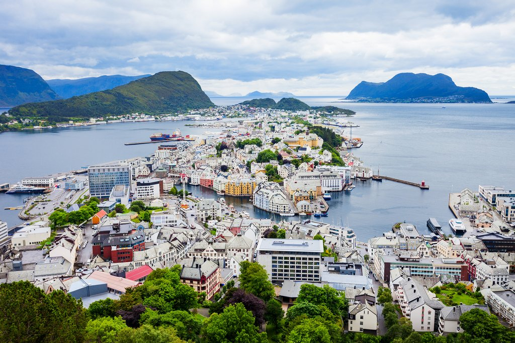 Aerial view of Ålesund