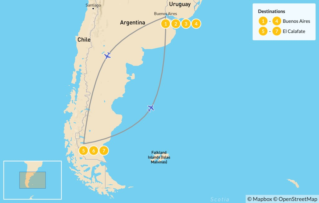 Map of Buenos Aires & Calafate Exploration - 8 Days