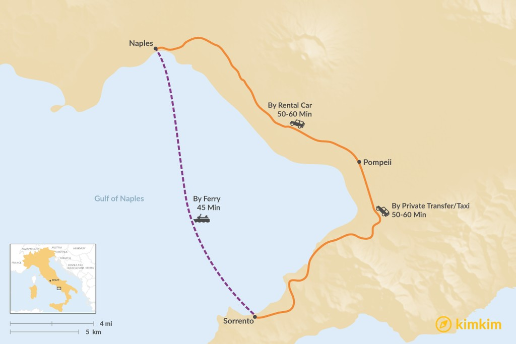 Map of How to Get from Sorrento to Naples
