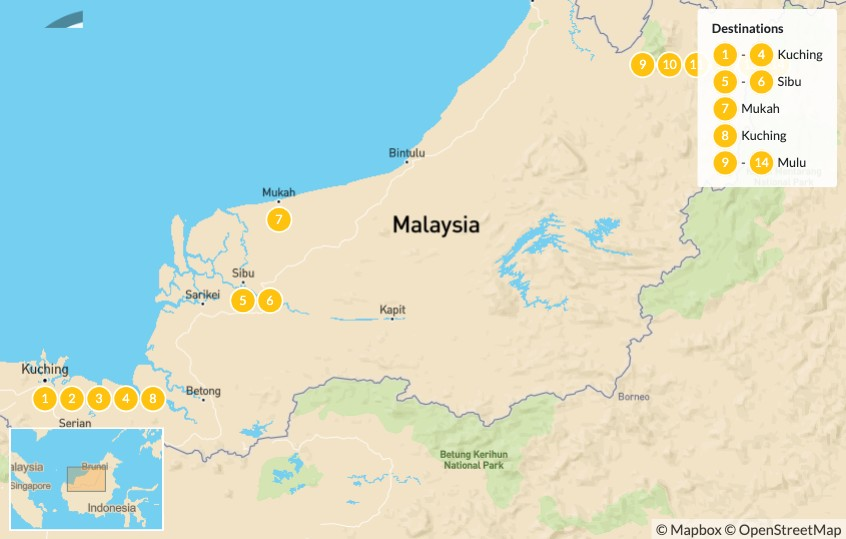 Map of Discover Sarawak: Off the Beaten Path in Malaysian Borneo - 14 Days
