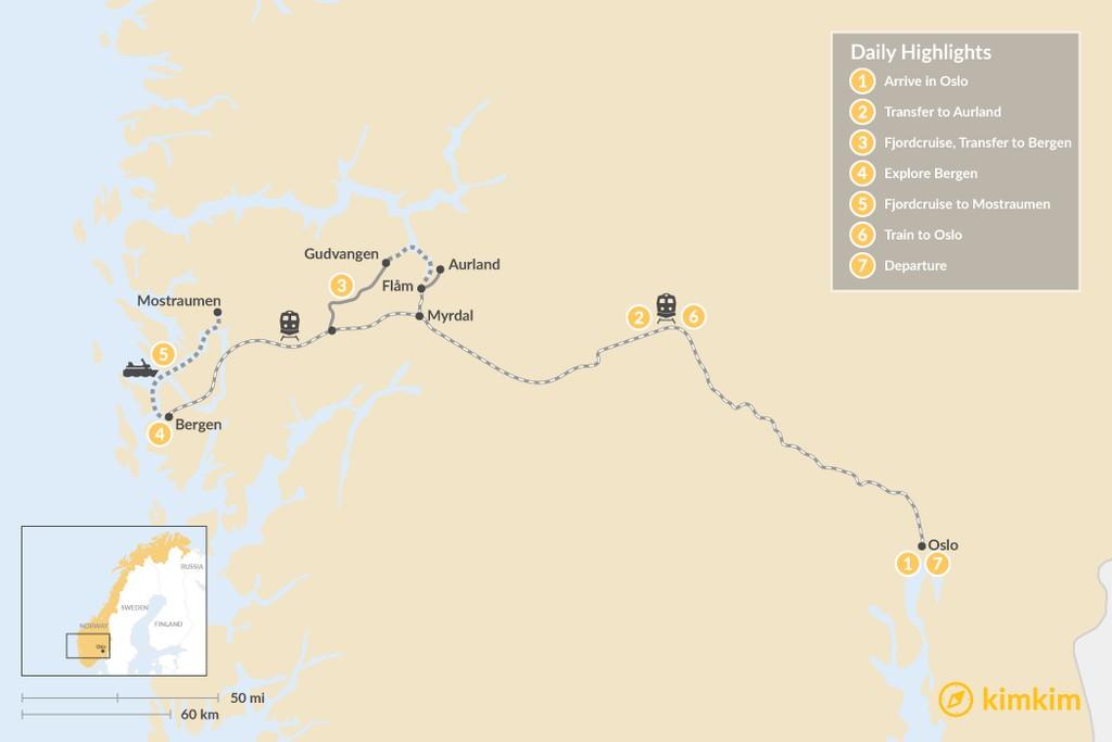 Map of Classic Autumn Fjord Adventure  - 7 Days