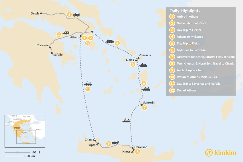 Map of Historic Athens, Mainland Greece, Cyclades and Crete - 12 Days