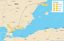 Map thumbnail of Barcelona, Granada & Seville - 10 days
