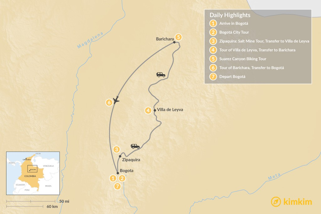 Map of Bogotá and the Colombian Highlands - 7 Days