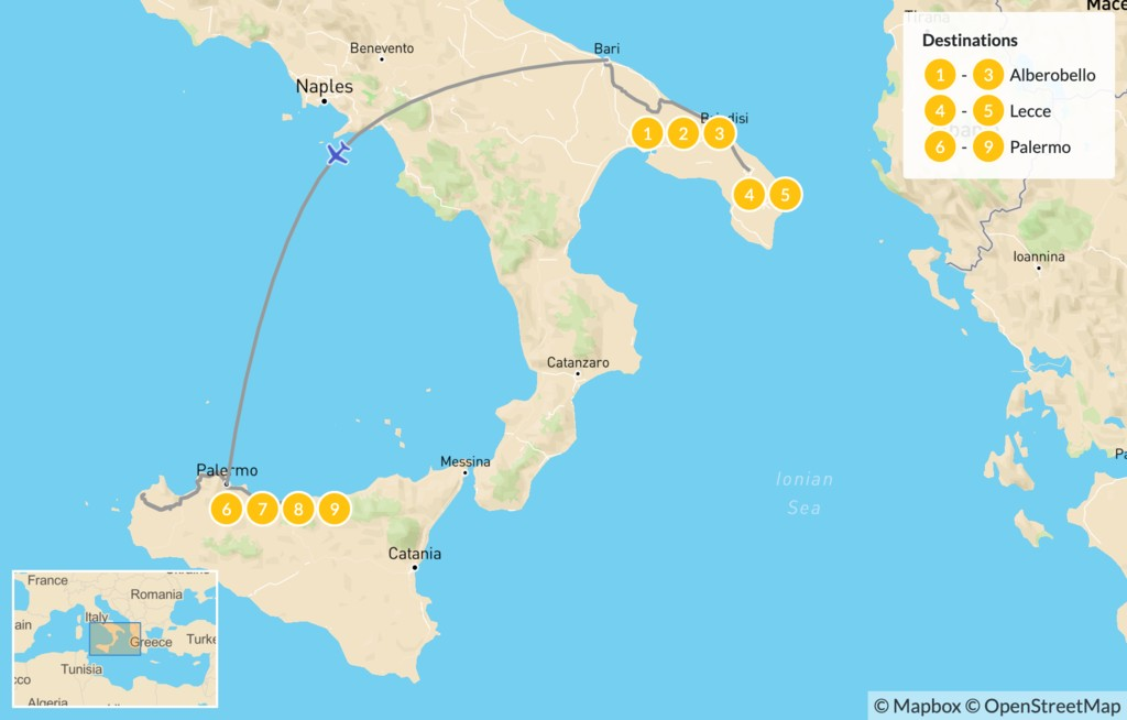 Map of Puglia & Sicily Highlights - 10 Days