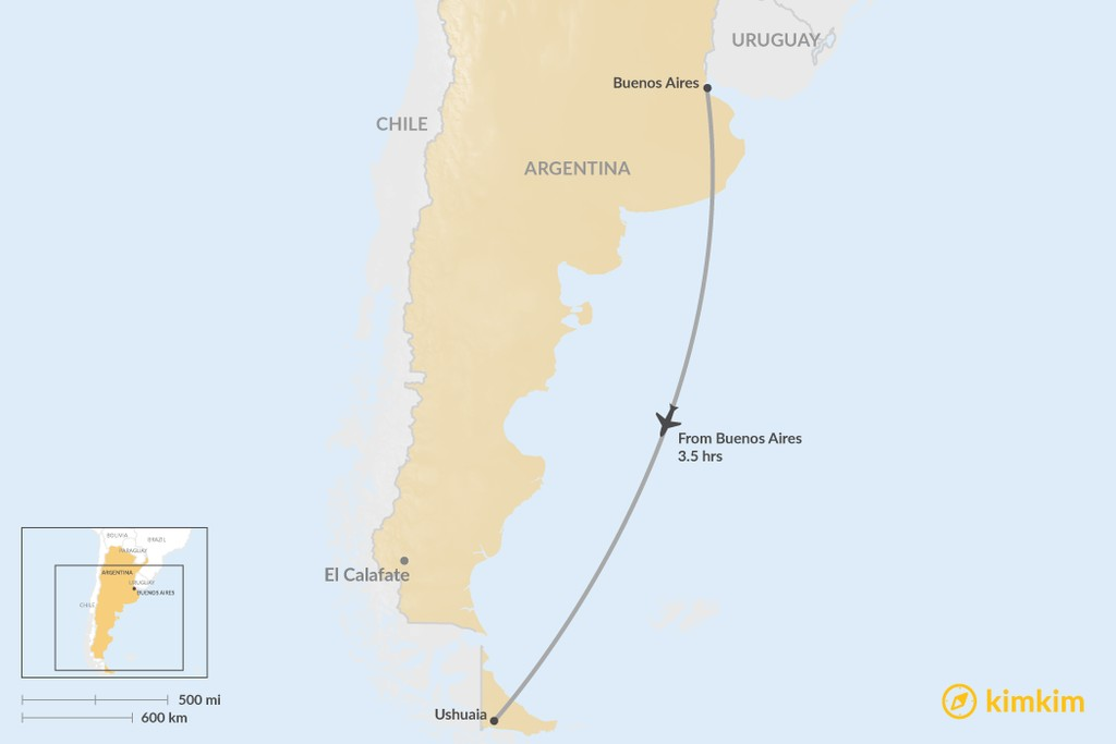 Map of How to Get from Buenos Aires to Ushuaia