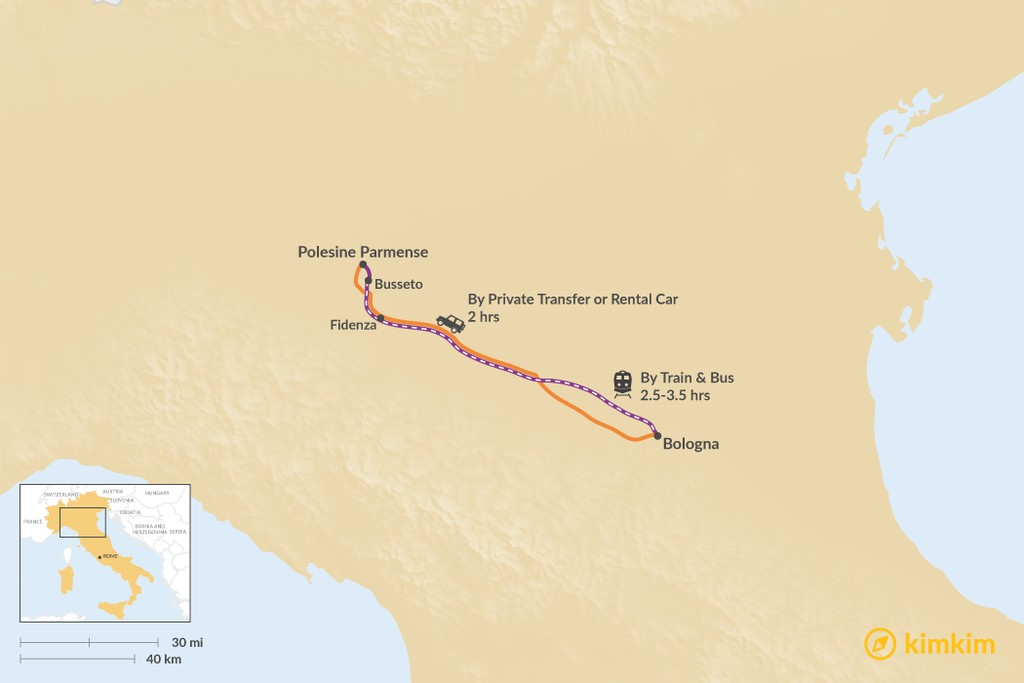 Map of How to Get from Bologna to Polesine Parmense