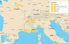 Map thumbnail of Nice, Provence, Paris & the French Alps - 14 Days
