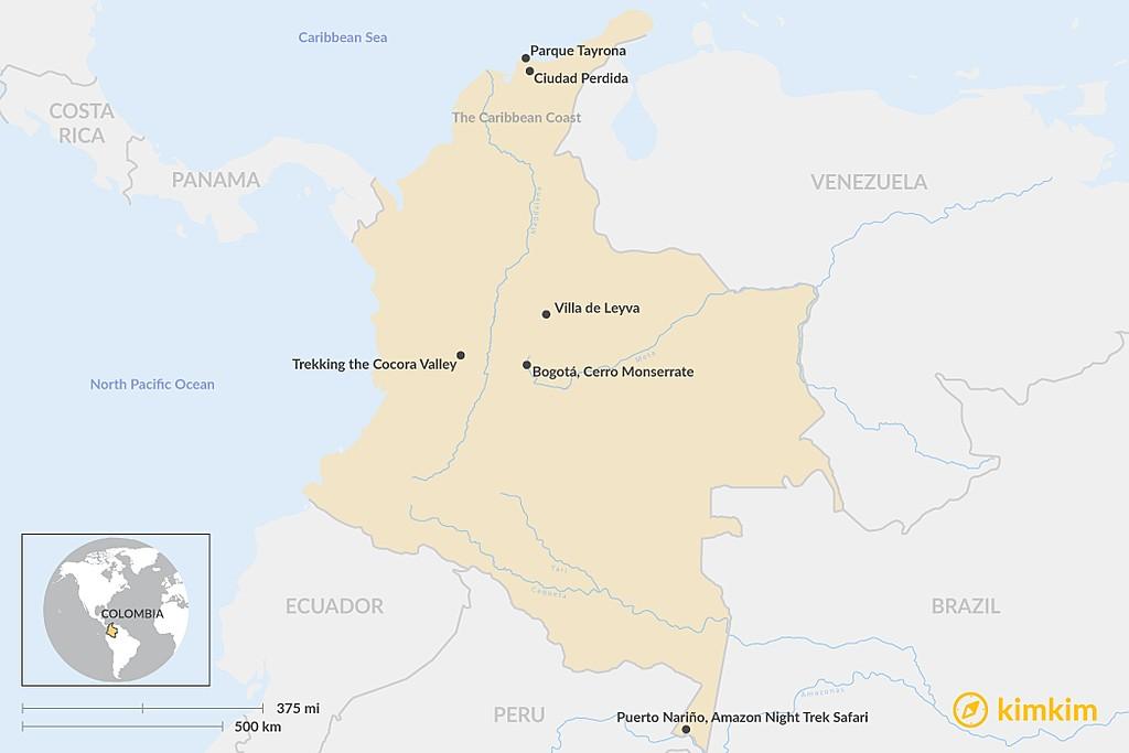 Map of Top 5 Short Treks in Colombia